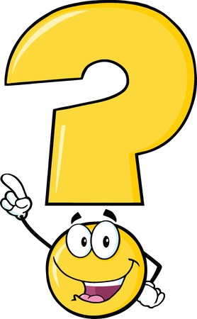 Illustration pour Happy Yellow Question Mark Cartoon Character Pointing With Finger - image libre de droit