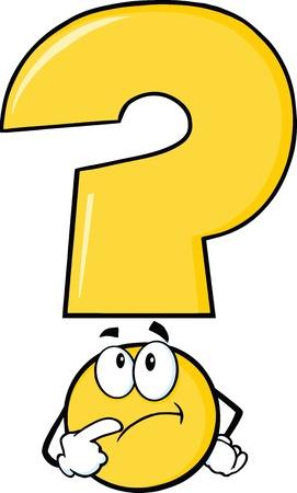 Illustration pour Yellow Question Mark Character Thinking - image libre de droit