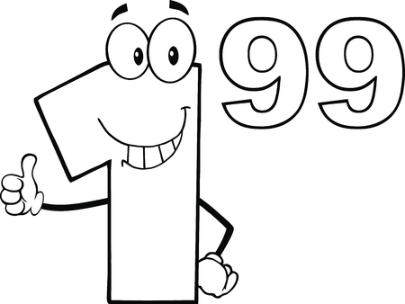 Black And White Price Tag Number 1 99 Cartoon Mascot Character Giving A Thumb Up