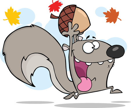 Illustration pour Crazy Gray Squirrel Cartoon Character Running With Acorn - image libre de droit