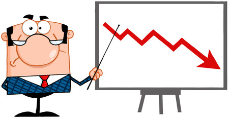 Illustration pour Angry Business Manager With Pointer Presenting A Falling Arrow - image libre de droit