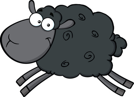 Illustration pour Black Sheep Cartoon Mascot Character Jumping  Illustration Isolated on white - image libre de droit