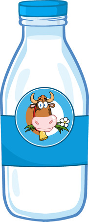 Illustration pour Milk Bottle With Cartoon Cow Head Label - image libre de droit