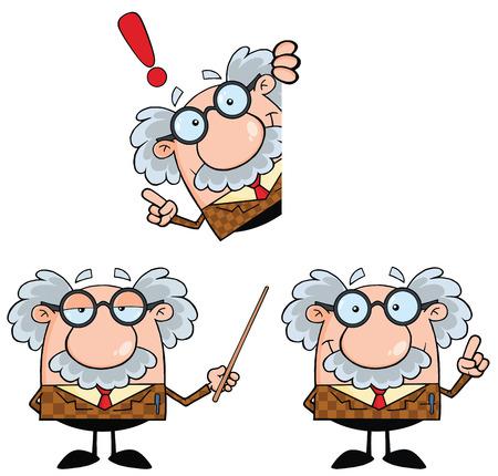 Illustration pour Funny Professor Cartoon Character. Collection Set - image libre de droit