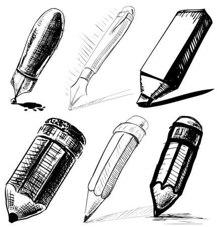 Illustration pour Collection of pens and pencils - image libre de droit
