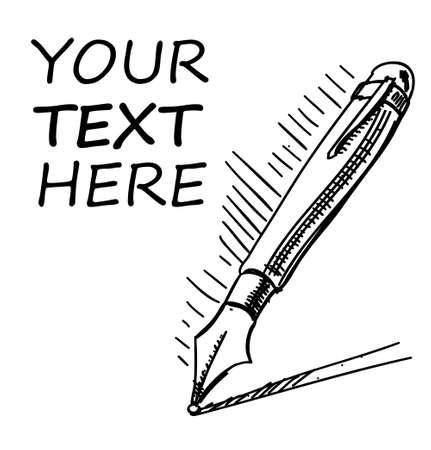 Illustration pour Ink pen with sample text - image libre de droit
