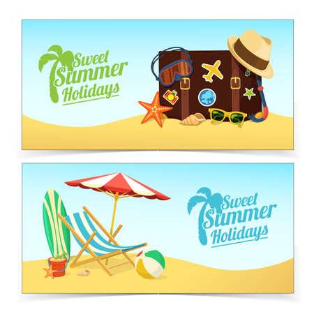 Ilustración de Summer travel banners. - Imagen libre de derechos