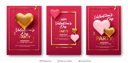 Ilustración de Easy to edit vector backgrounds set. Holiday greeting card design. - Imagen libre de derechos