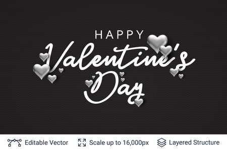 Ilustración de Happy Valentines day text and 3D hearts on black. - Imagen libre de derechos