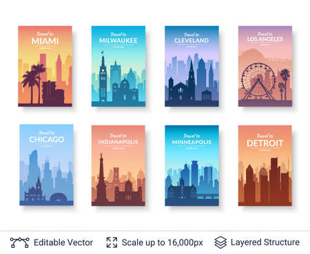 Illustration pour Flat well known silhouettes. Vector illustration easy to edit for flyers, posters or book covers. - image libre de droit