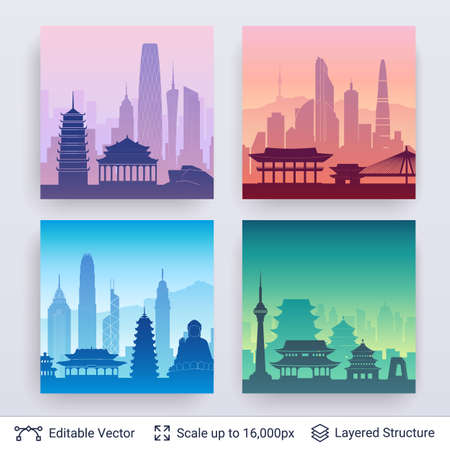 Ilustración de Collection of famous city scapes. - Imagen libre de derechos