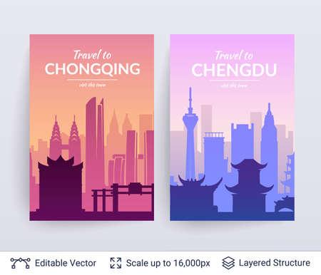 Ilustración de Chongqing and Chengdu famous chinese city scapes. - Imagen libre de derechos
