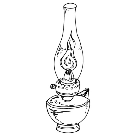 Illustrazione per Kerosene lamp. Oil lamp. Vector illustration of a kerosene lamp. Hand drawn old oil lamp. - Immagini Royalty Free