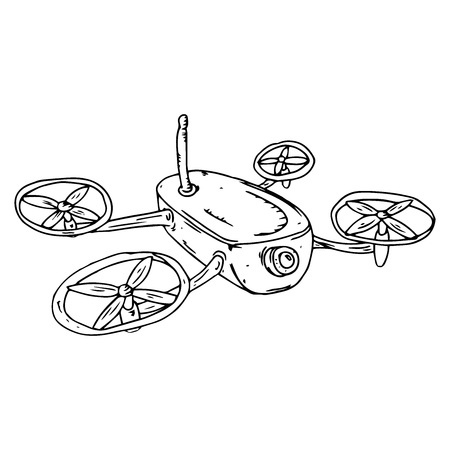 Illustration pour Drone icon. Vector illustration of drone. Hand drawn drone. - image libre de droit