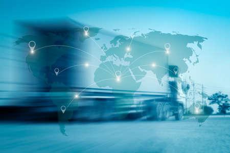 Foto für World international map connection connect network with blurred distribution logistic cargo warehouse background - Lizenzfreies Bild