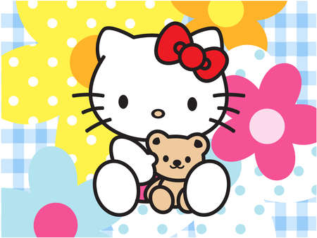 Hello Kitty flowers  background blue