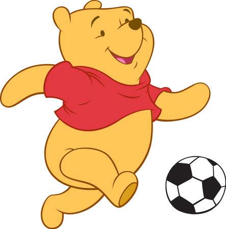 Photo pour Winnie the Pooh bear illustration playing football - image libre de droit