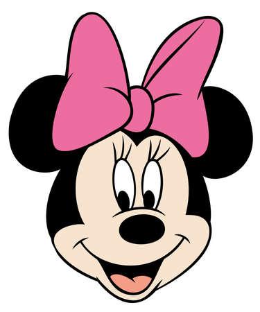 Photo pour minnie mouse head pink  smile cartoon illustration - image libre de droit