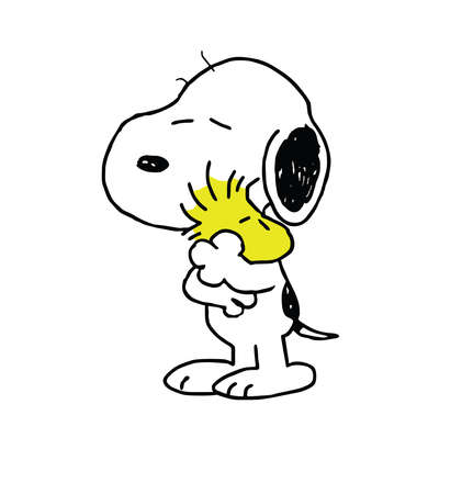 Photo pour Woodstock Peanuts and Snoopy hugging illustration friends - image libre de droit