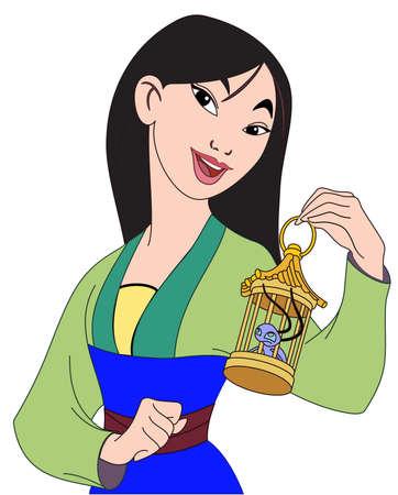 Photo for Mulan chinese legend illustration cartoon - Royalty Free Image