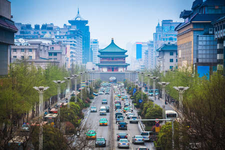 Photo for the street scene of xian,bell tower in the center of ancient city,China - Royalty Free Image