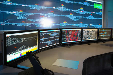 control room of railway,computers and train scheduling,China