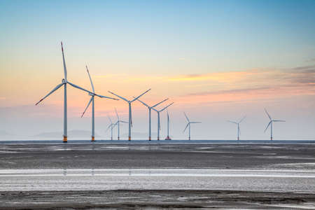 Photo for wind power farm on the coastal mud flat in sunrise - Royalty Free Image