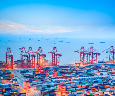 Photo for shanghai container terminal at dusk ,yangshan deep-water port , China  - Royalty Free Image