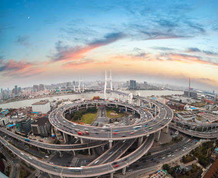Photo pour aerial view of shanghai nanpu bridge in sunset  ,China  - image libre de droit