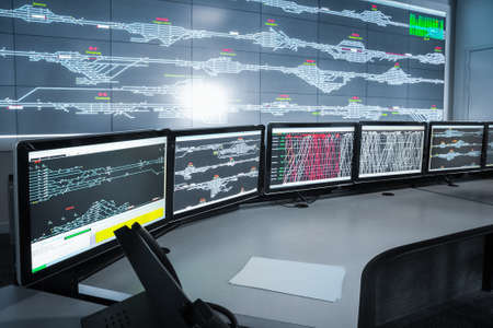 Foto de modern electronic control room , science and technology background  - Imagen libre de derechos