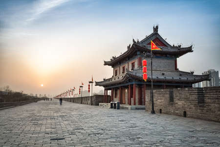 Photo for xian city wall and ancient tower at dusk, hdr image  - Royalty Free Image