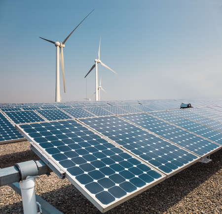 Photo for solar panels and wind power farm , new energy background - Royalty Free Image