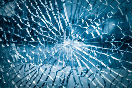 Photo for broken toughened glass closeup , background of glass was smashed - Royalty Free Image