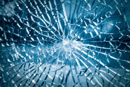 Foto de broken toughened glass closeup , background of glass was smashed - Imagen libre de derechos