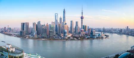 Photo pour shanghai skyline panoramic view at dusk ,China - image libre de droit