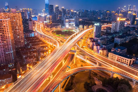 Photo pour city interchange at night , overpass and viaducts in shanghai - image libre de droit