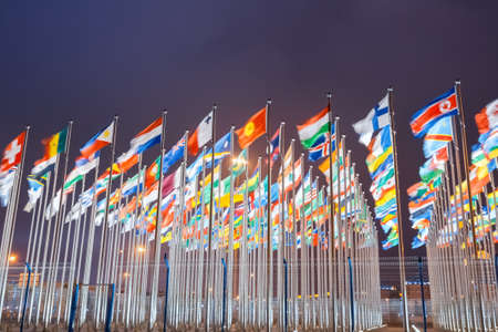 Photo pour national flags of countries all over the world at night - image libre de droit