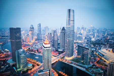 Photo for aerial view of tianjin financial district in nightfall, china - Royalty Free Image