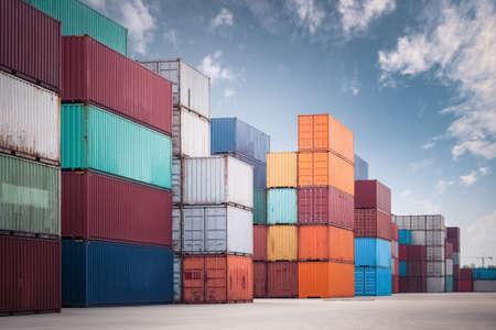 Photo for a pile of container in freight yard against a blue sky, transport background - Royalty Free Image