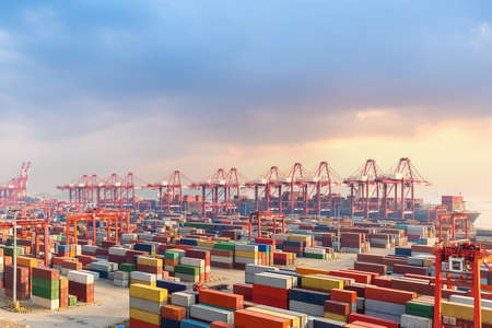 Foto per shanghai container terminal at dusk - Immagine Royalty Free