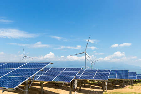 Photo for solar power station and wind farm on poyang lakeside, energy with clear sky - Royalty Free Image