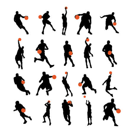 Basketball players 20 poses silhouettes
