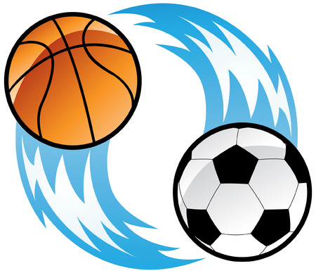 a soccer ball and a basketball ball with blue fire