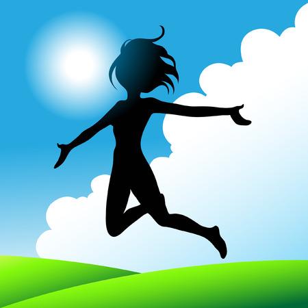girl jumping under the sunny blue sky