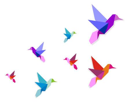 Illustration pour Group of various Origami vibrant colors hummingbirds.  - image libre de droit