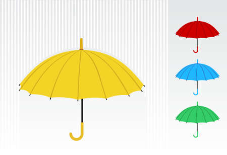 Illustration pour Yellow umbrella with a colorful pattern of umbrellas at the right side. Vector available - image libre de droit