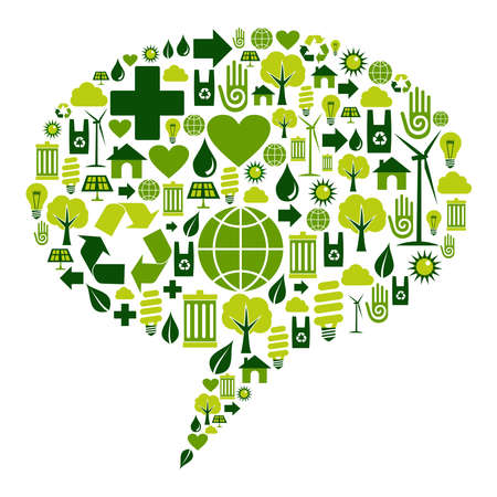 Bubble dialogue social media with environmental icons .