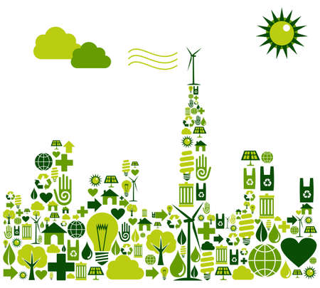 Illustration pour Green city shape made with environmental icons set. - image libre de droit
