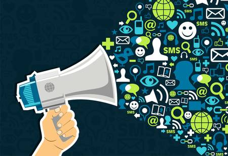 Illustration for Hand holding a megaphone throwing social media icons on blue background - Royalty Free Image