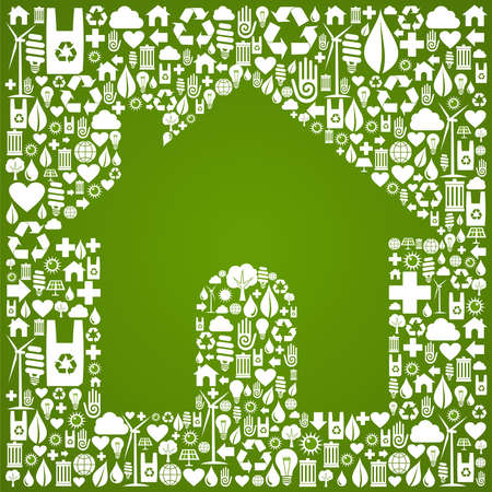 Green house symbol over environment icons background  Vector file available